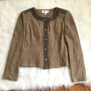 ST. JOHN Collection Tweed Suede Jacket